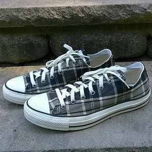 Converse Low Top Tan Black Plaid Sneakers M 8 W 10